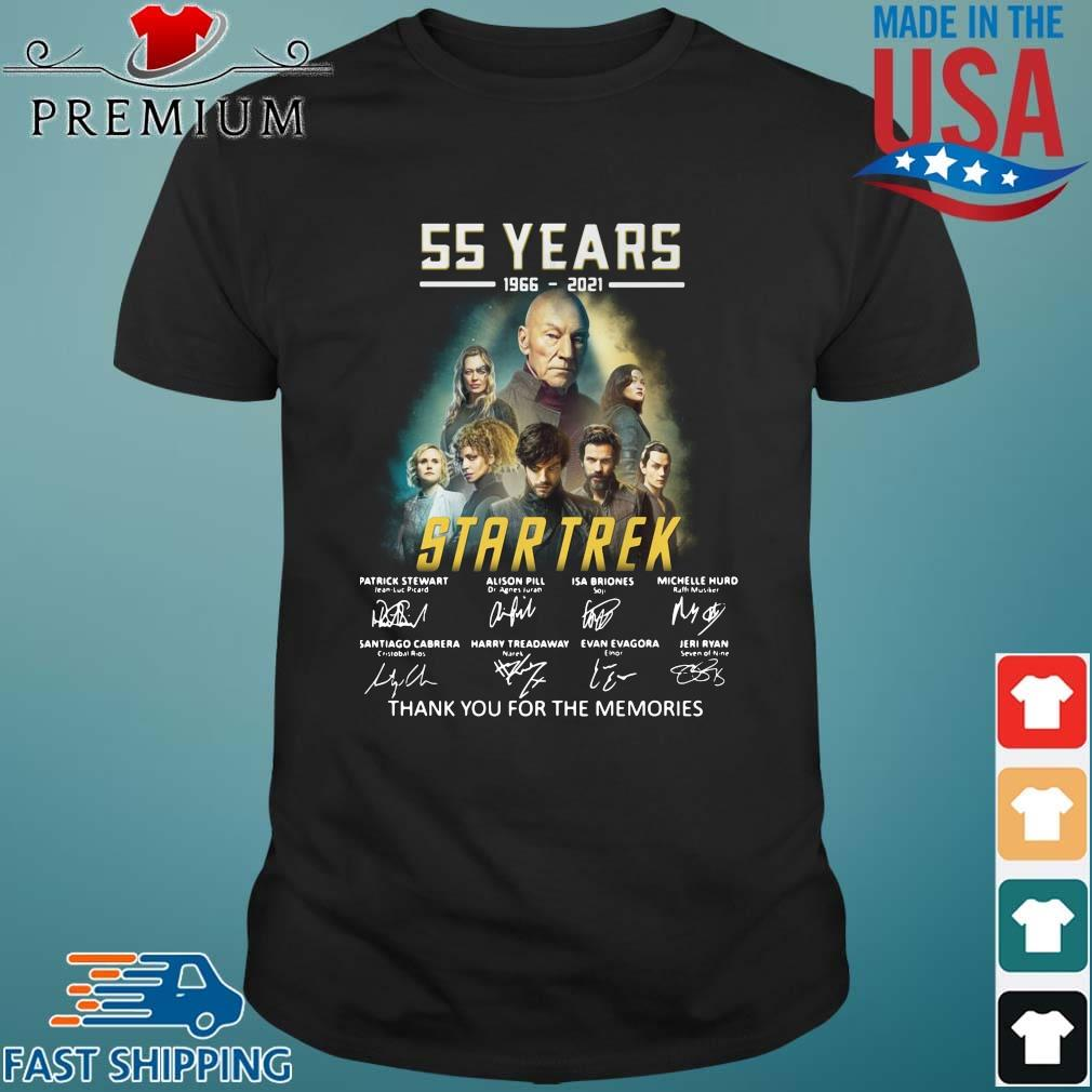 55 years 1966 2021 Star Trek signatures thank you for the memories shirt