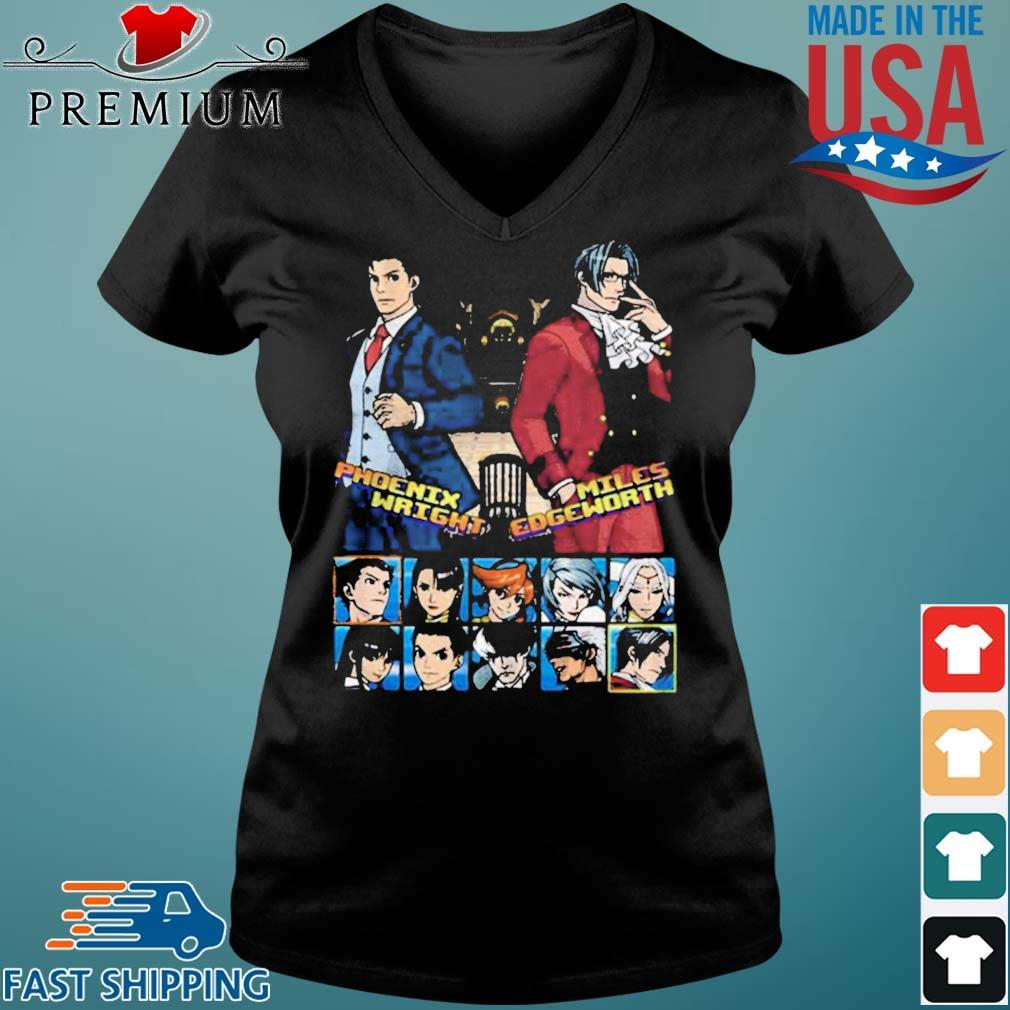 Ace attorney phoenix wright and miles edgeworth charcoal s Vneck den