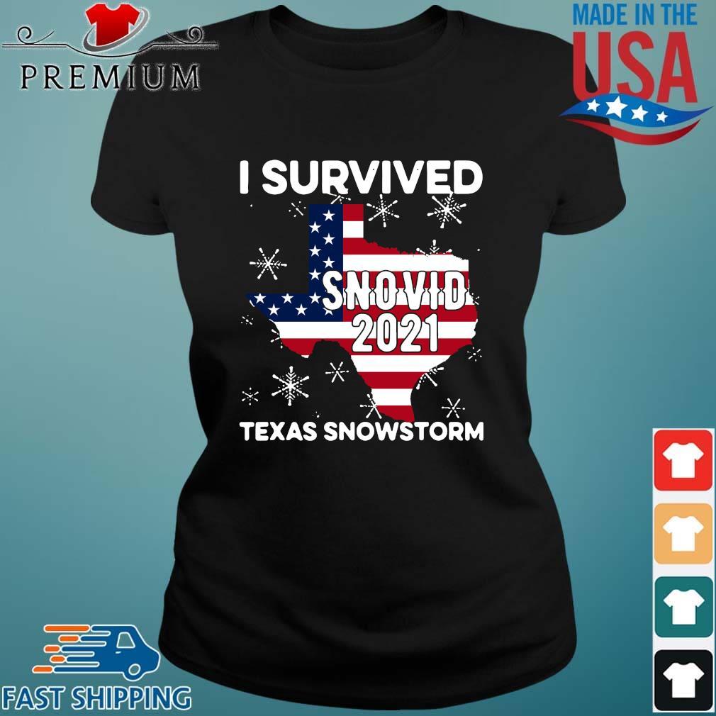 American flag I survived snovid 2021 Texas snowstorm s Ladies den