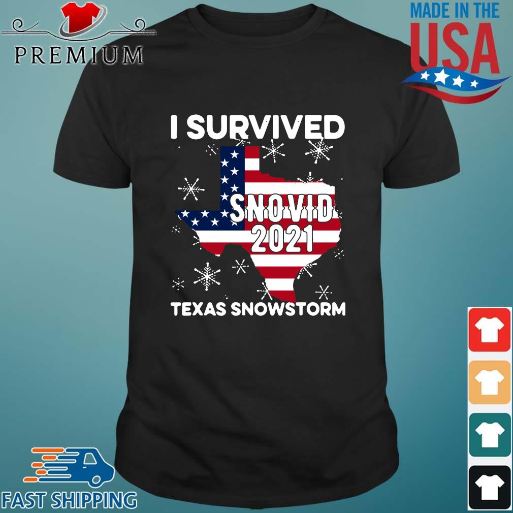American flag I survived snovid 2021 Texas snowstorm shirt