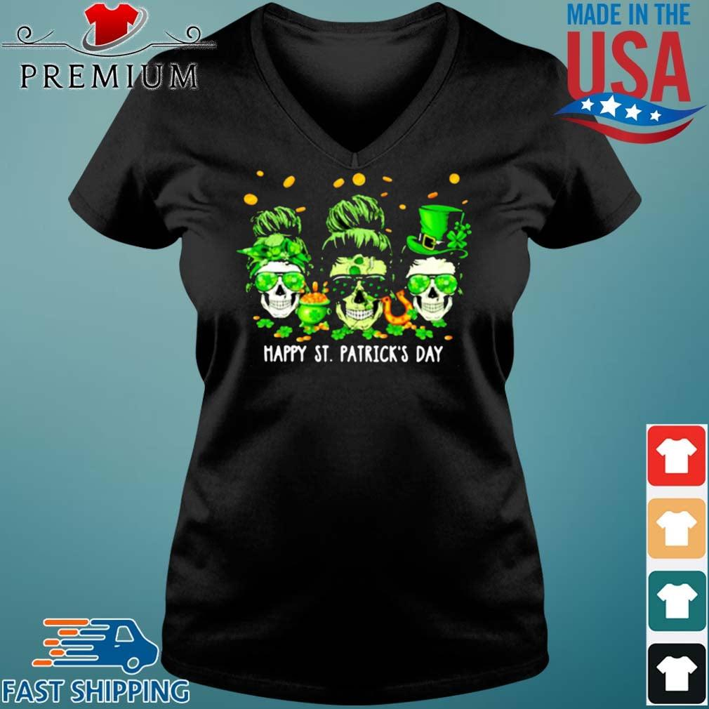 Skull Happy St Patrick's Day Shirt Vneck den