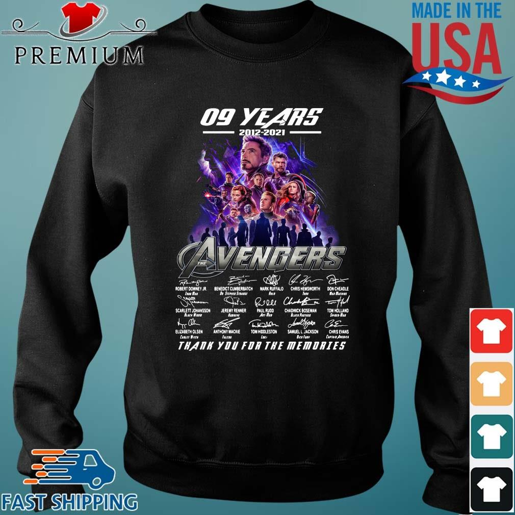 09 years 2012 2021 the Avengers signatures thank you for the memories Sweater den