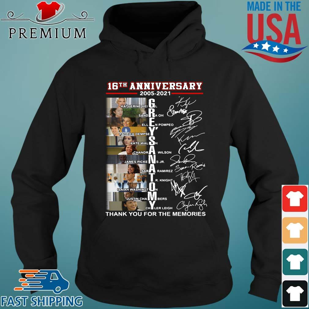 16th anniversary 2005-2021 Grey's Anatomy signatures thank you for the memories Hoodie den