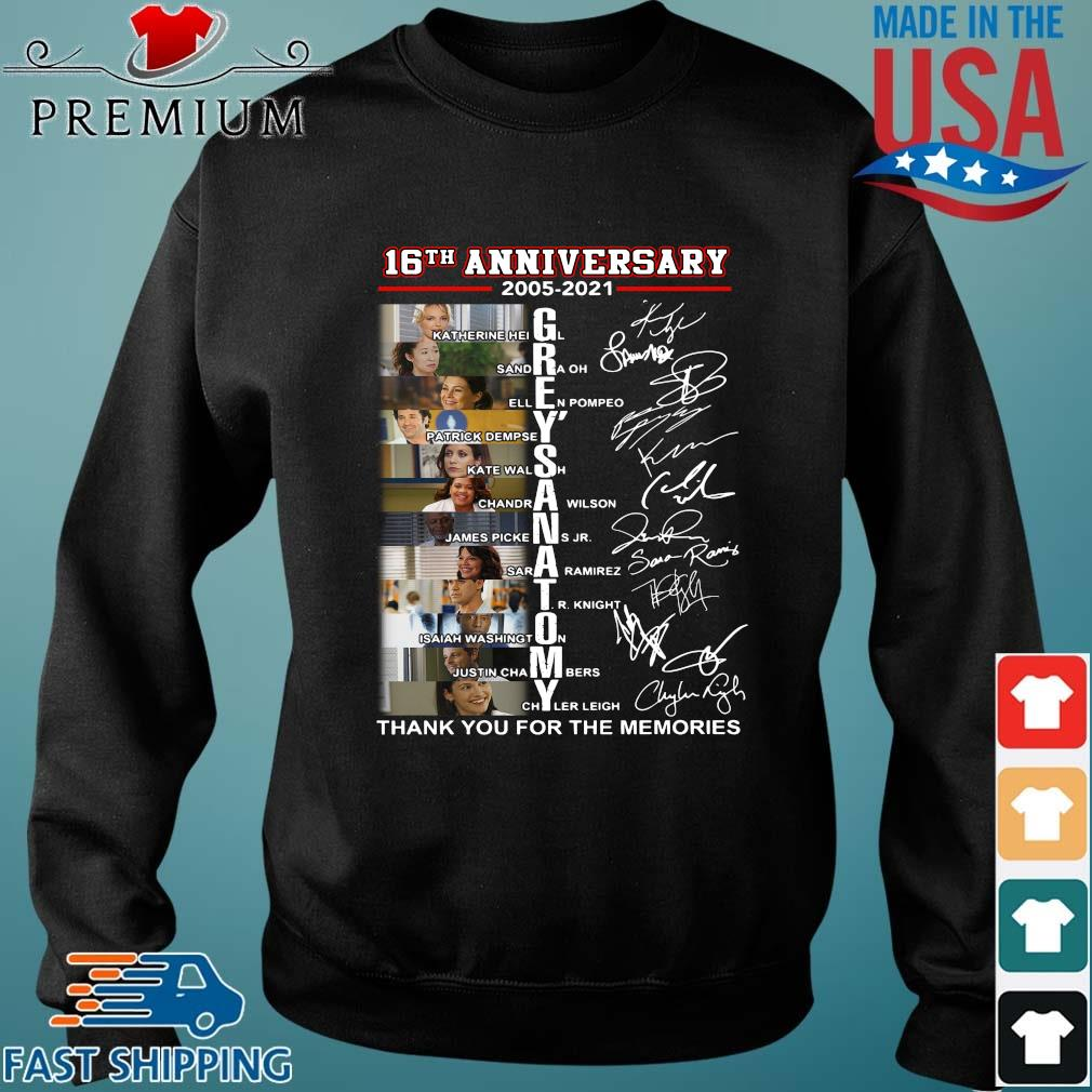 16th anniversary 2005-2021 Grey's Anatomy signatures thank you for the memories Sweater den