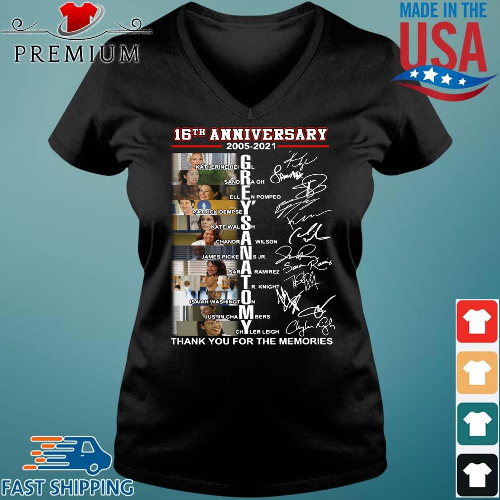 16th anniversary 2005-2021 Grey's Anatomy signatures thank you for the memories Vneck den