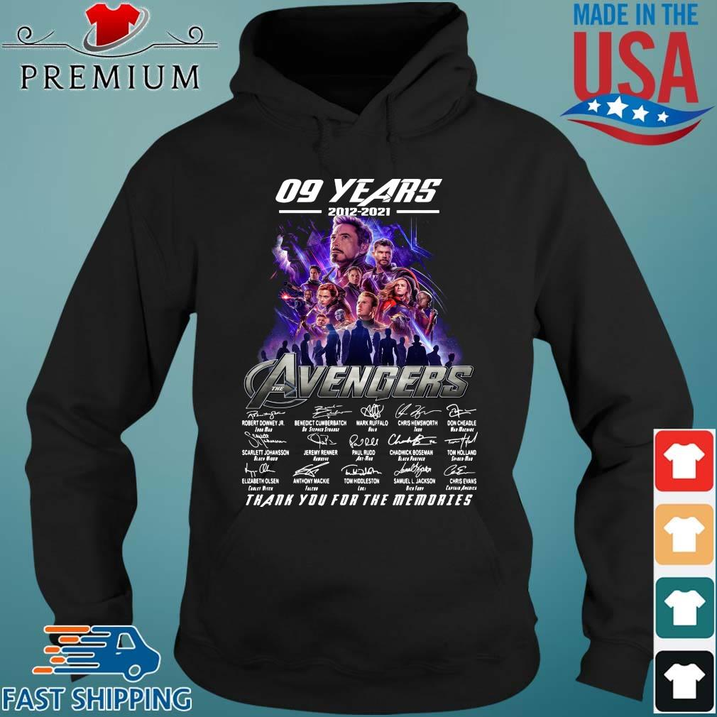 Funny 09 years 2012 2021 the Avengers signatures thank you for the memories Hoodie den