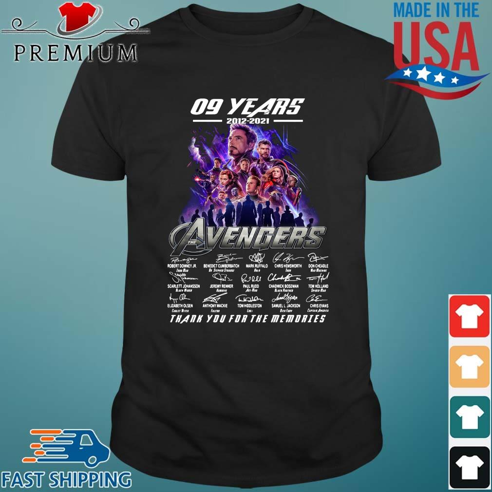 Funny 09 years 2012 2021 the Avengers signatures thank you for the memories shirt