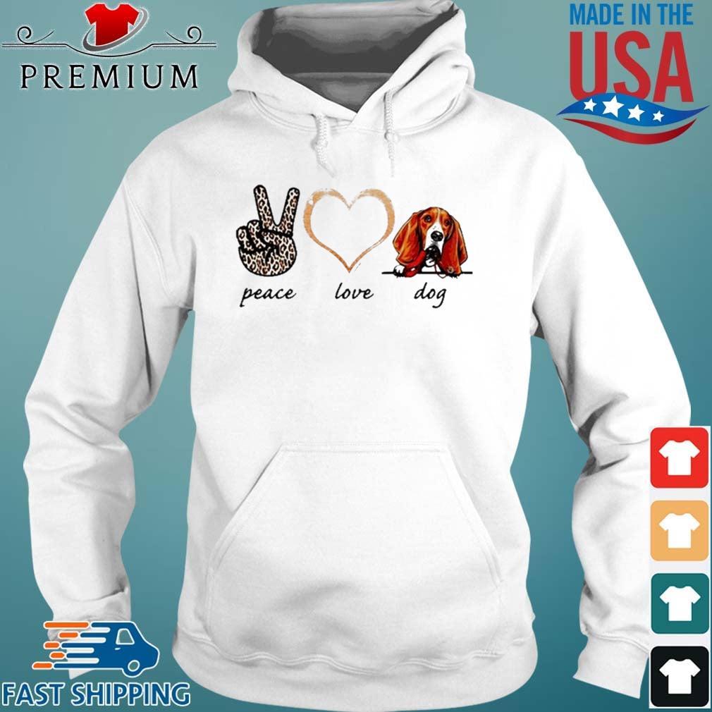 Peace Love Basset Dog 2021 Hoodie trang