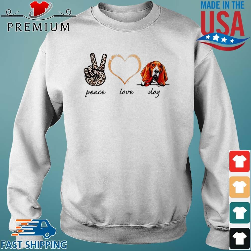 Peace Love Basset Dog 2021 Sweater trang