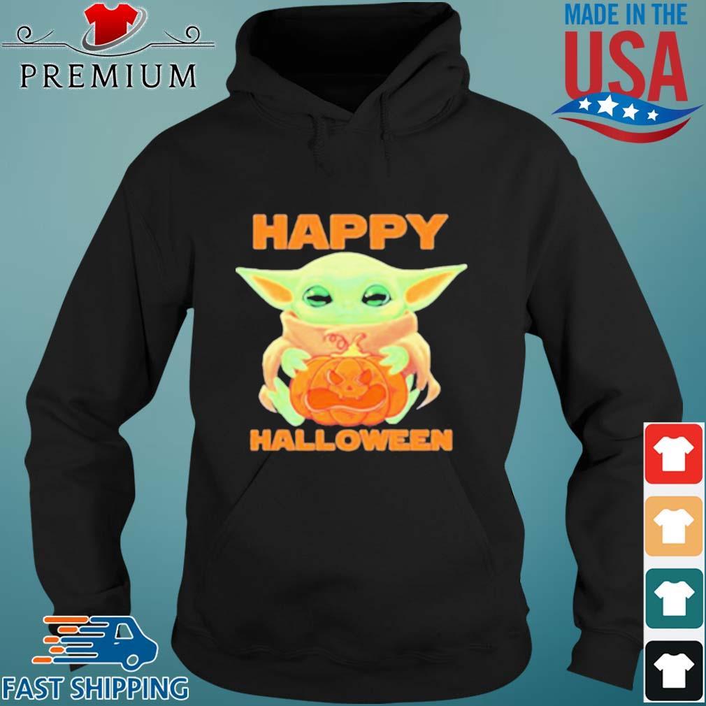 Baby Yoda Hug Pumpkin Happy Halloween Shirt Sweater Hoodie And Long Sleeved Ladies Tank Top