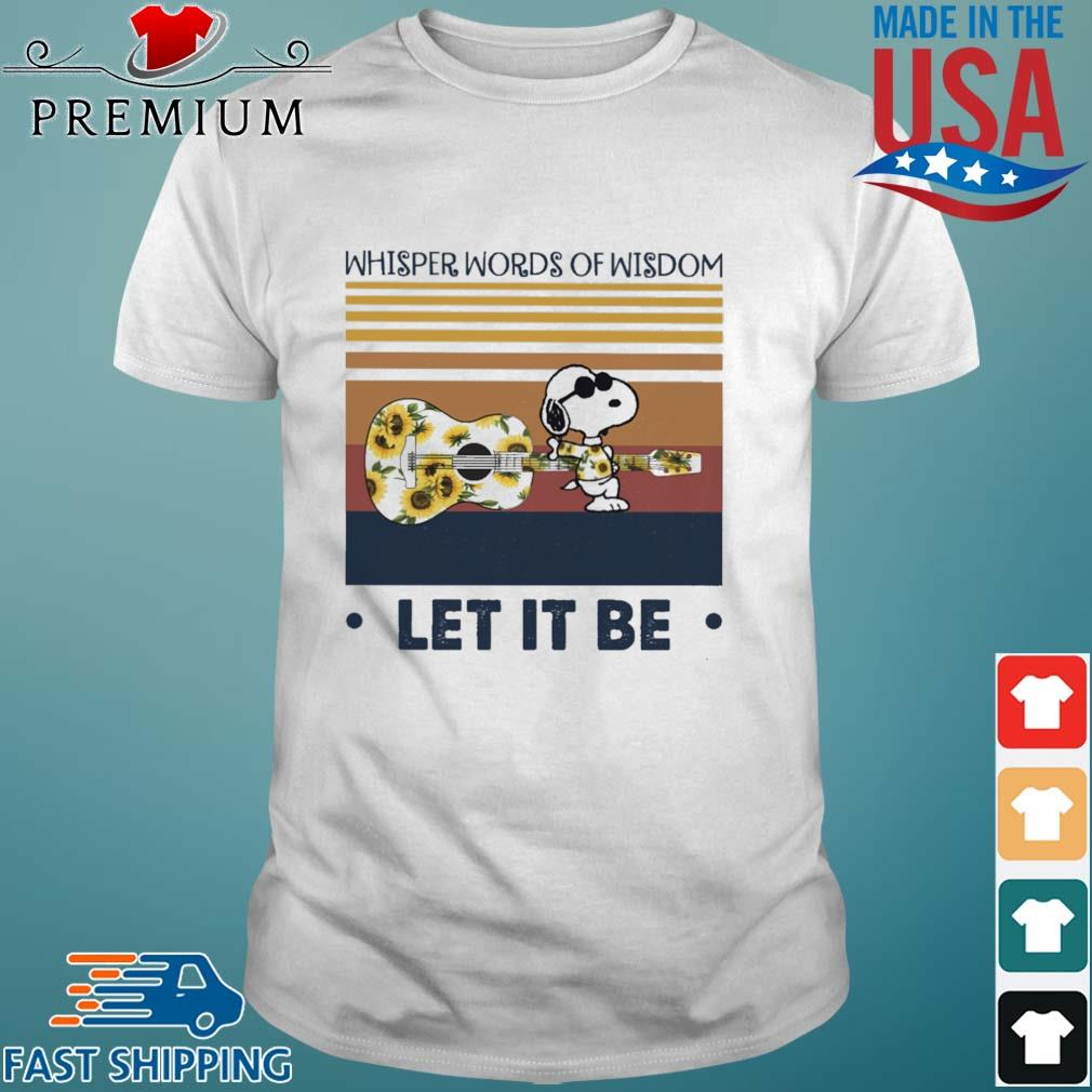 Snoopy and Guitar floral whisper words of wisdom let it be vintage shirt