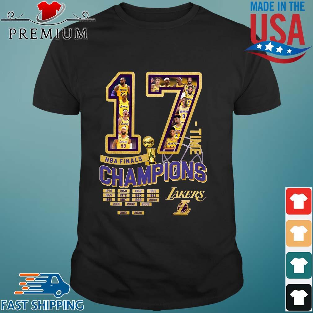 17 time NBA finals Champions 1949-2020 Los Angeles Lakers shirt