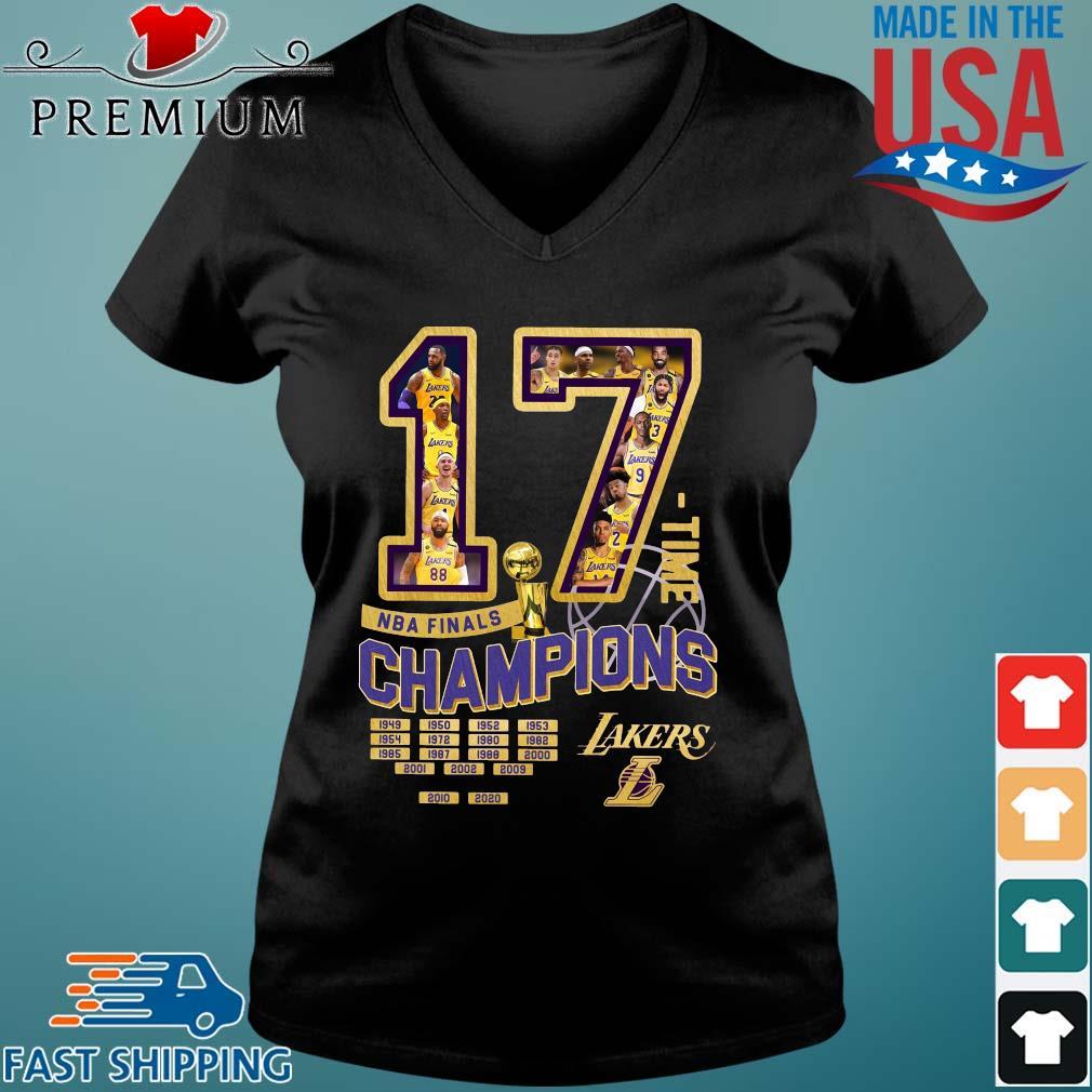 17 time NBA finals Champions 1949-2020 Los Angeles Lakers s Vneck den