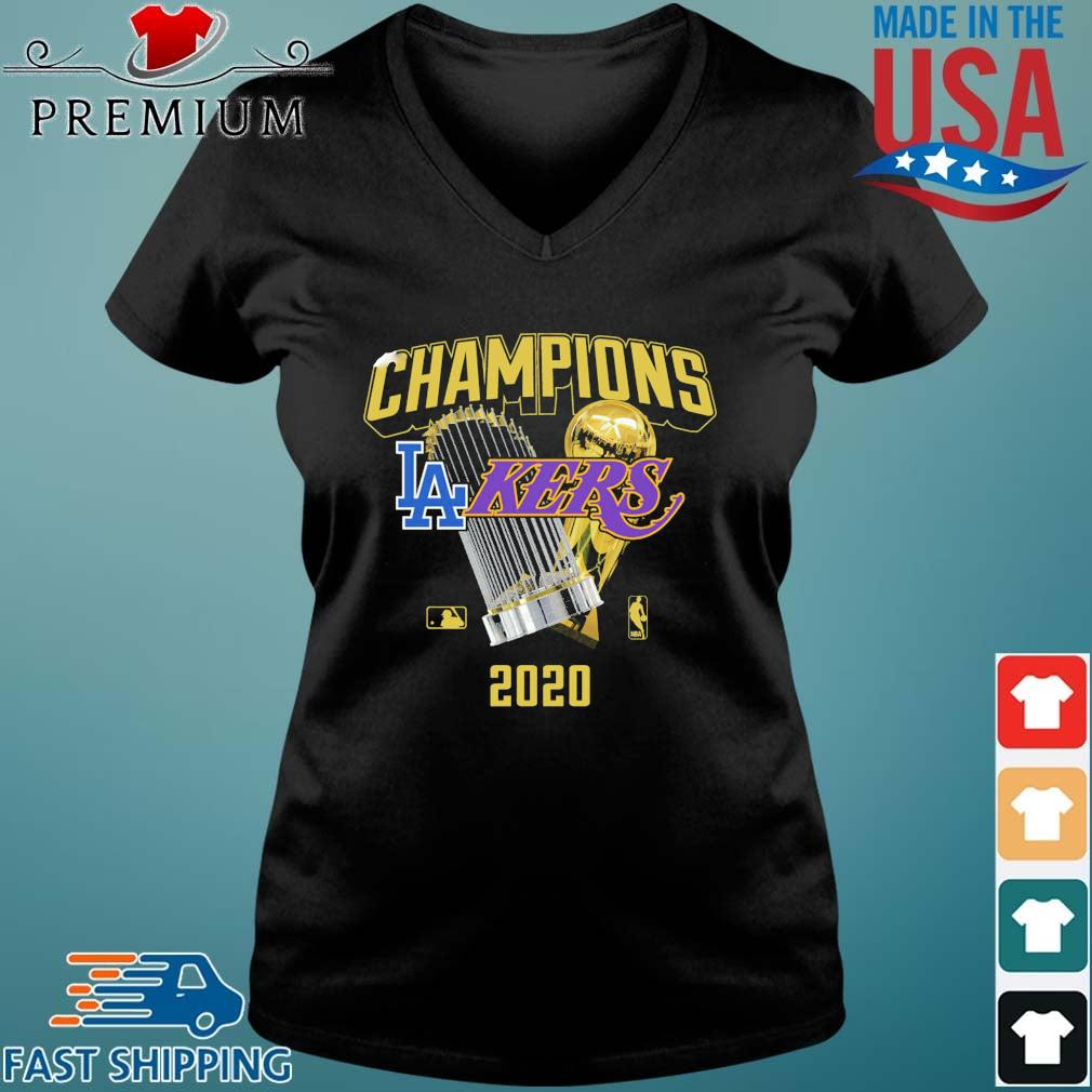 Champions Los Angeles Lakers And Los Angeles Dodgers 2020 Shirt Vneck den